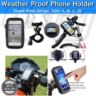 Waterproof 360° Bike Scooter Bicycle Stem Mount Phone Holder Case Pouch Bracket *Single Knob* escooter iphone gps handphone
