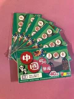 🇨🇳全中國5日4G無限數據(限時優惠!售完即止!)