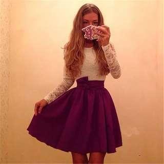 🚚 101500復古蕾絲拼接長袖連身洋裝size:M #女裝半價拉