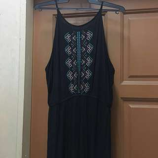 Black Long Maxi Dress with embroidery #July70