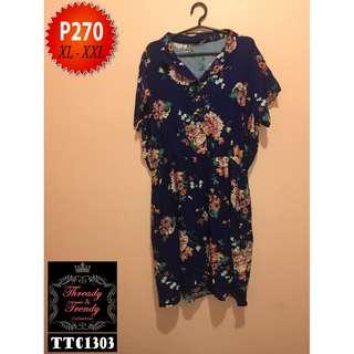 Plus size navy blue floral dress