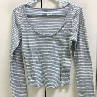 Long sleeve white and gray stripes