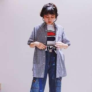 FILA ✼藍白格子襯衫✼ 純棉 義大利斐樂 美式休閒 Oversize 中性男生版型 短袖上衣 日本古着Vintage