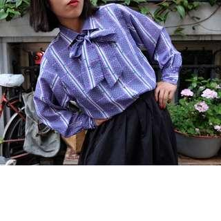 歐洲古著 綁帶紫羅蘭襯衫 Juillet 12