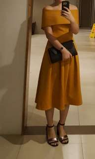 SALE APARTMENT 8 Off Shoulder Mustard Dress