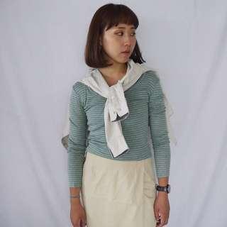 🚚 🌴BEAUTY&YOUTH淺綠灰條紋復古長袖T恤 女款Vintage 日本帶回古著