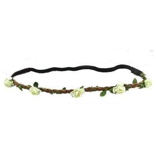 White Flower Floral Elastic Headband