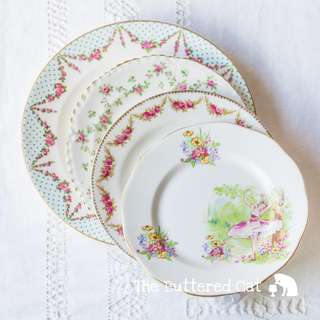 FOUR pretty mix and match antique / vintage English china plates, swags and garlands, floral and garden theme