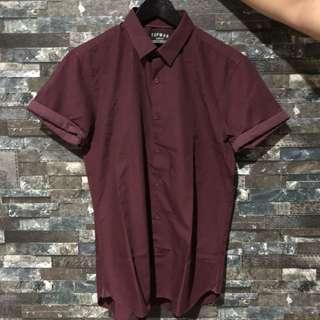 TOPMAN Burgundy Shirt w Sleeve Detail