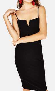 Bershka midi black fitted dress XS