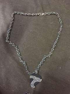 20寸 50g 日本 某品牌 925 银项链(黑色那块可以弹吉他)