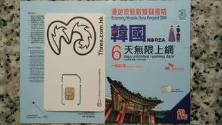 韓國 數據卡 6天 4G 3GB + 128kbps 無限數據 上網卡 SIM Card