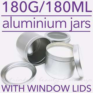 180G/180ML Aluminium Window Lidded Jar Empty Containers DIY Candle Bath Scrub | Sold in packs of 3
