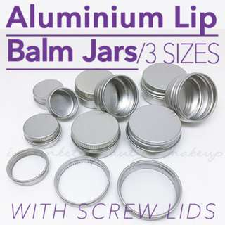 Aluminium Lip Balm Screw Lid Jar Empty Containers DIY Lip Care Solid Perfume | Sold in packs of 3
