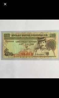 {Collectible Item - Vintage Banknotes}  B/3 232322 Nice No. $50 NEGARA BRUNEI DARUSSALAM LIMA PULUH RINGGIT FIFTY DOLLARS  KELUARAN 1990 Banknotes