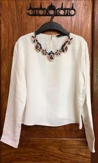 Zara Embellished White Top