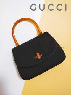 Vintage Gucci Top Handle Bag With Amber Lucite Handle