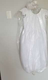 White holy communion/flower girl dress along with head piece