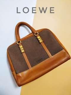 Vintage Loewe Orange Suede / Leather Bowling Bag