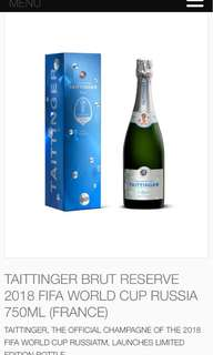 Taittinger brut reserve 2018 fifa World Cup Russia ( limited edition )