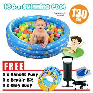 FREE POS Ready Stock Inflatable 3Rings Family Kids Swimming Pool 130cm FREE Pump