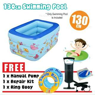 FREE POS Ready Stock Inflatable 3Rings Family Outdoor Swimming Pool 130cm FREE Pump