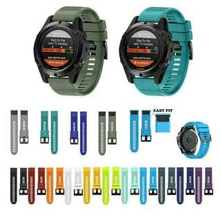 100%全新 GARMIN  FORERUNNER/FENIX/VIVOACTIVE series silicone watch straps 系列代用矽膠錶帶 送工具螺絲2支