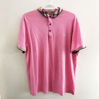 Men's Burberry pink polo size XL