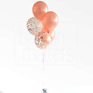 [Helium Inflated] Rose Gold Helium Balloon Bouquet