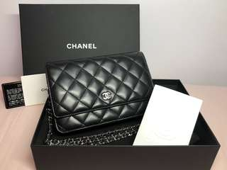🈹($11,800 before 19/7)99%NEW!!! Chanel Wallet on Chain 黑羊銀扣
