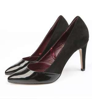 🚚 全新39號🇫🇷法國購拼接材質羊皮墊尖頭黑色高跟鞋