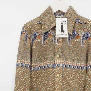 🚚 復古古著vintage.日本品牌異國風嬉皮波希米亞波西米亞變形蟲小碎花印花圖騰襯衫