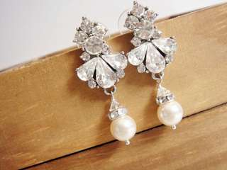 Swarovski Bridal Pearl Earrings