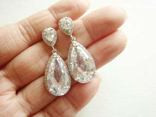 Large Cubic zirconia sterling silver earrings