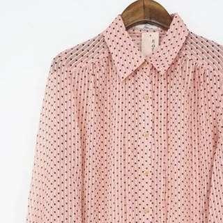 🚚 復古古著vintage.日本品牌氣質直條紋點點水玉雪紡紗透膚感襯衫