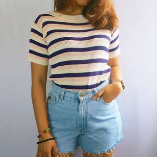 Faded Glory ripped shorts and Knitted striped top