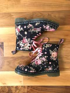 Black Dr martens 1460 boot with pink Victorian roses