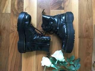 Back leather dr martens jadon platform boots