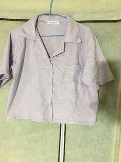 紫色短版襯衫