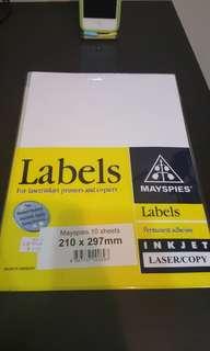 A4 Labels for laser/inkjet printer