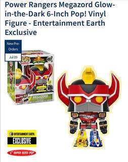 Pre Order: Funko Pop Entertainment Earth Exclusive Power Rangers Megazord