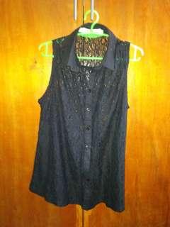 Betty sleeveless top M-L lace cotton