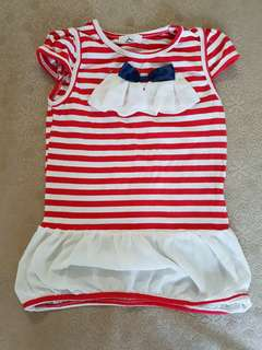 🚚 出清撿便宜~八成新無髒污 女童洋裝 女童童裝 長版上衣 適合4歲以下穿着