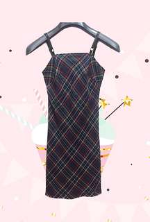 [GUESS] Vintage Plaid Fitted Dress