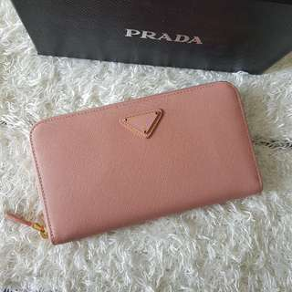 ON SALE: Authentic Prada Saffiano Zippy Wallet in Light Pink