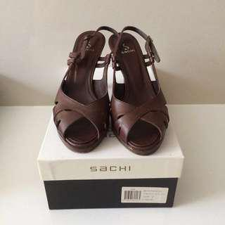 """Sachi Brown Leather """"Pascal"""" Slingback Heels size 7"""