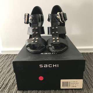 "Sachi Black Leather ""Carlie"" Gladiator Heels size 6.5"