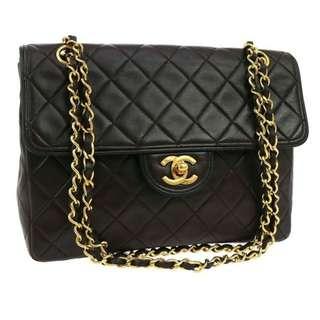 Vintage Chanel深啡色x黑色邊羊皮金扣2.55 classic flap bag 24x28x6.5cm