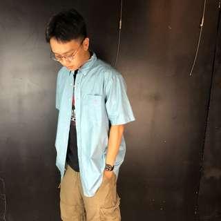 🚚 古著polo Ralph Lauren 淺藍色小格紋短袖襯衫P46