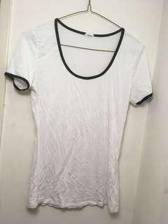 White Garage T-Shirt with Black Accents (Size: M)